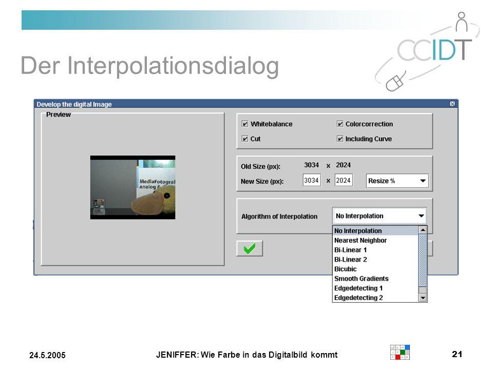 JENIFFER: Wie Farbe in das Digitalbild kommt 21 24.5.2005 Der Interpolationsdialog