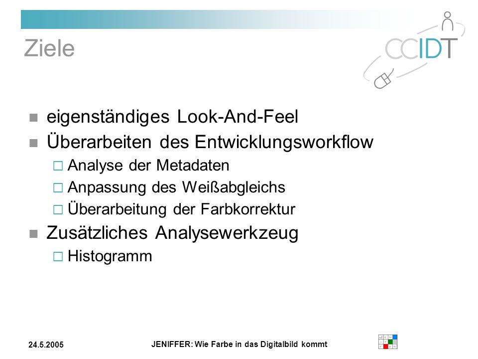 JENIFFER: Wie Farbe in das Digitalbild kommt 24.5.2005 Ziele eigenständiges Look-And-Feel Überarbeiten des Entwicklungsworkflow Analyse der Metadaten