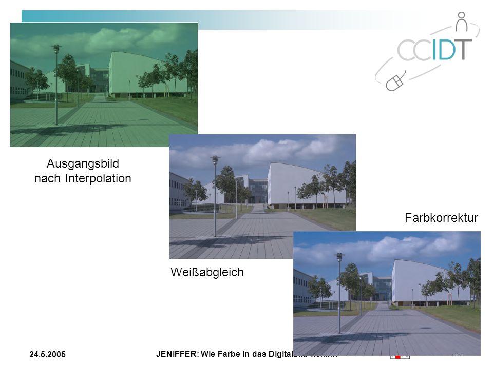 JENIFFER: Wie Farbe in das Digitalbild kommt 24 24.5.2005 Ausgangsbild nach Interpolation Weißabgleich Farbkorrektur