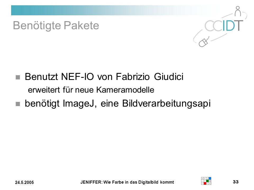 JENIFFER: Wie Farbe in das Digitalbild kommt 33 24.5.2005 Benötigte Pakete Benutzt NEF-IO von Fabrizio Giudici erweitert für neue Kameramodelle benöti