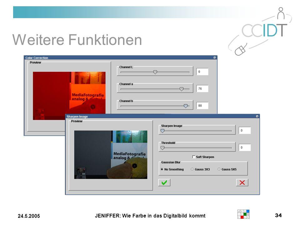 JENIFFER: Wie Farbe in das Digitalbild kommt 34 24.5.2005 Weitere Funktionen