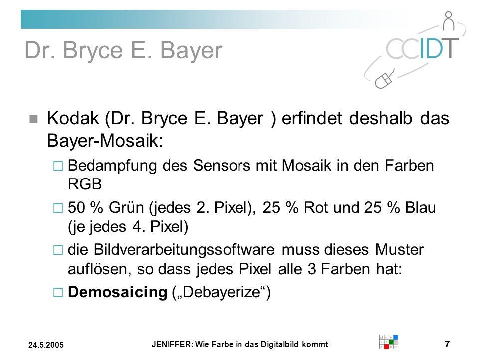 JENIFFER: Wie Farbe in das Digitalbild kommt 7 24.5.2005 Dr. Bryce E. Bayer Kodak (Dr. Bryce E. Bayer ) erfindet deshalb das Bayer-Mosaik: Bedampfung