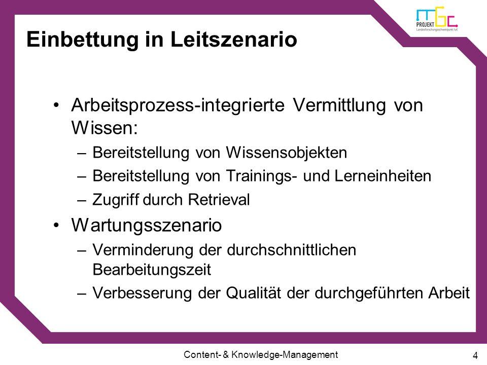 Content- & Knowledge-Management 4 Einbettung in Leitszenario Arbeitsprozess-integrierte Vermittlung von Wissen: –Bereitstellung von Wissensobjekten –B