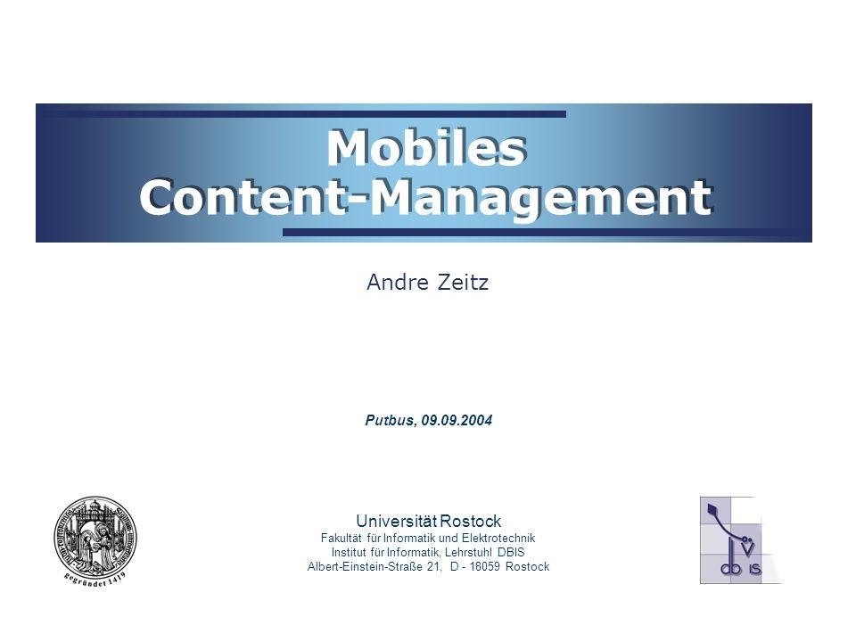 Mobiles Content-Management 12 Caching Typisch: Zwischenspeicherung aller vom Server gelieferten Objekte zusätzlich Speicherung dazugehöriger Anfragen Neu: möglicher Verbund mobiler Geräte und Caches Einsparung von Bandbreite, insbesondere bei schlechter Anbindung (GSM, etc.)