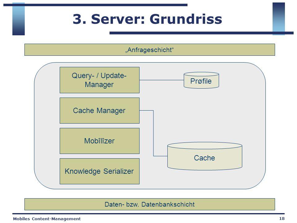 Mobiles Content-Management 18 3. Server: Grundriss Query- / Update- Manager Cache Manager Knowledge Serializer Prøfile Daten- bzw. Datenbankschicht An