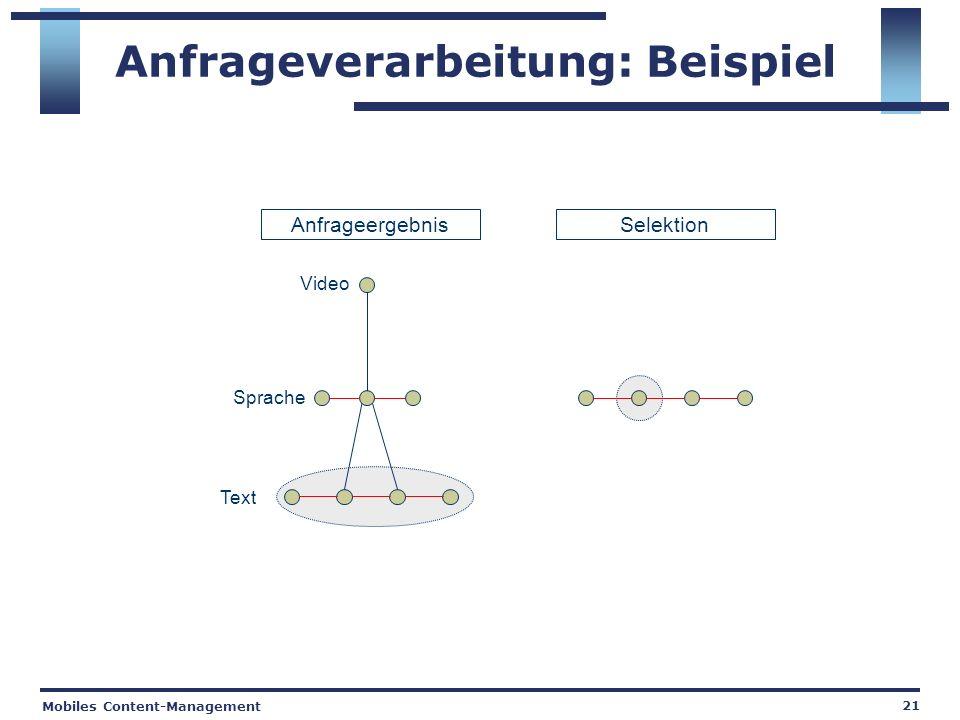 Mobiles Content-Management 21 Anfrageverarbeitung: Beispiel Anfrageergebnis Video Sprache Text Selektion