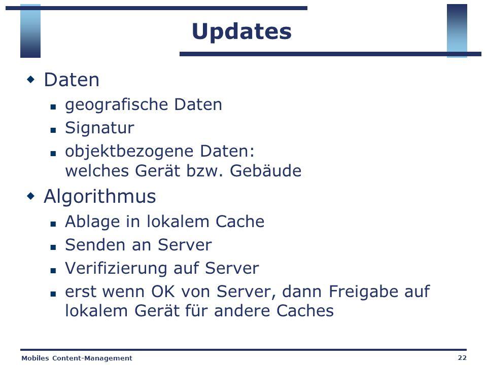 Mobiles Content-Management 22 Updates Daten geografische Daten Signatur objektbezogene Daten: welches Gerät bzw.