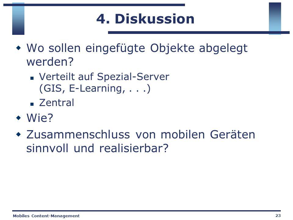 Mobiles Content-Management 23 4. Diskussion Wo sollen eingefügte Objekte abgelegt werden.