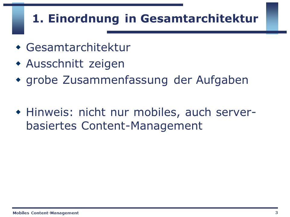 Mobiles Content-Management 3 1. Einordnung in Gesamtarchitektur Gesamtarchitektur Ausschnitt zeigen grobe Zusammenfassung der Aufgaben Hinweis: nicht