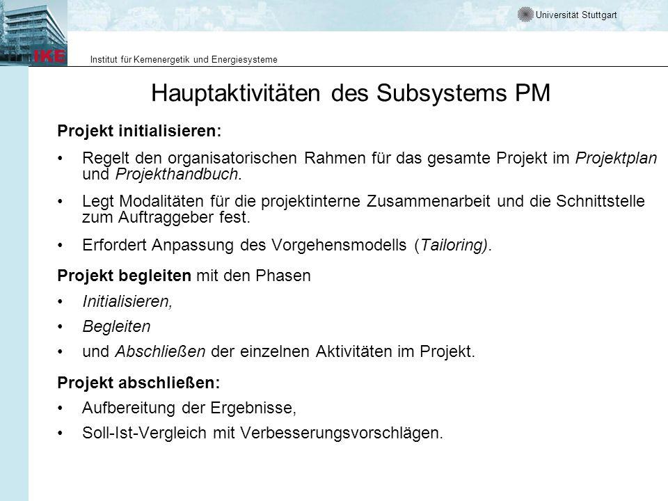 Universität Stuttgart Institut für Kernenergetik und Energiesysteme Hauptaktivitäten des Subsystems PM Projekt initialisieren: Regelt den organisatori