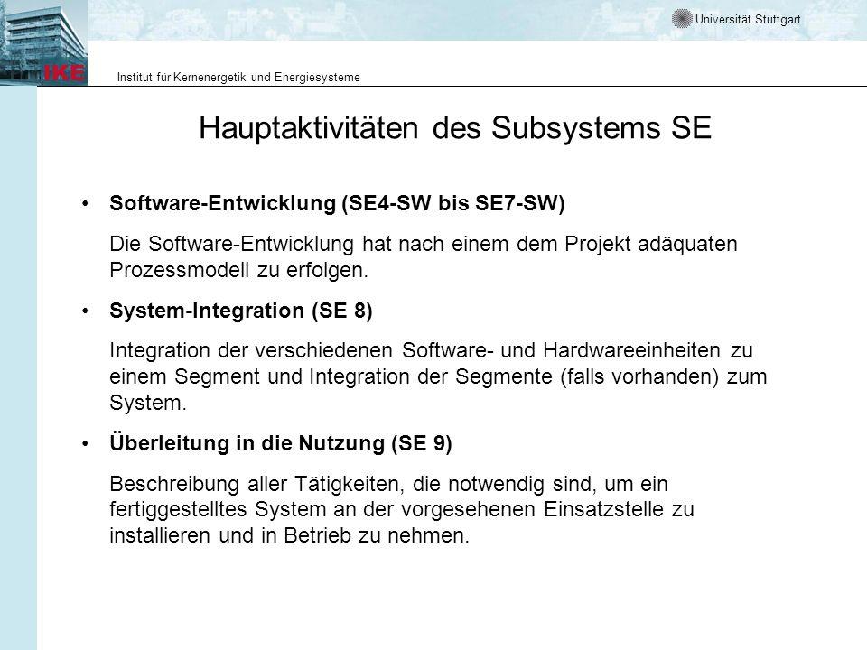 Universität Stuttgart Institut für Kernenergetik und Energiesysteme Hauptaktivitäten des Subsystems SE Software-Entwicklung (SE4-SW bis SE7-SW) Die So