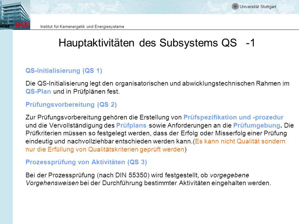 Universität Stuttgart Institut für Kernenergetik und Energiesysteme Hauptaktivitäten des Subsystems QS -1 QS-Initialisierung (QS 1) Die QS-Initialisie