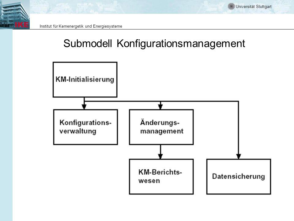 Universität Stuttgart Institut für Kernenergetik und Energiesysteme Submodell Konfigurationsmanagement