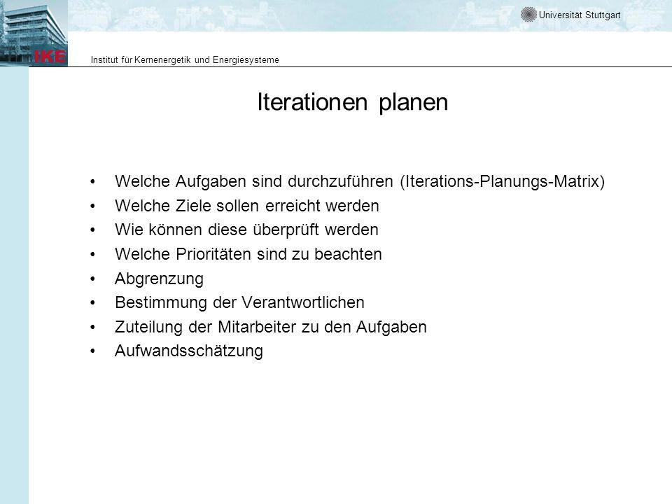 Universität Stuttgart Institut für Kernenergetik und Energiesysteme Iterationen planen Welche Aufgaben sind durchzuführen (Iterations-Planungs-Matrix)