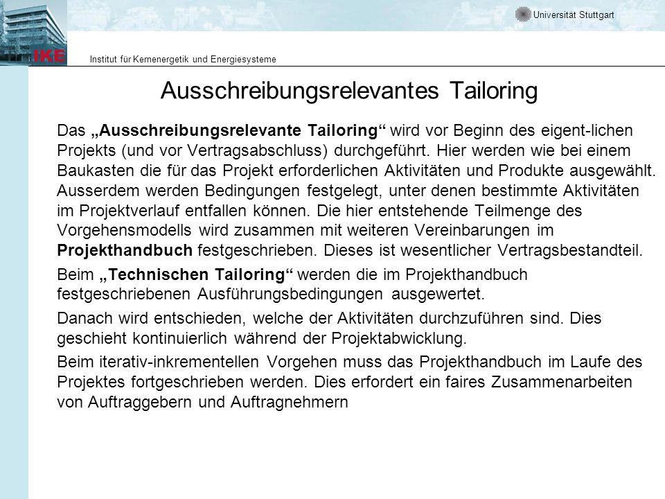 Universität Stuttgart Institut für Kernenergetik und Energiesysteme Ausschreibungsrelevantes Tailoring Das Ausschreibungsrelevante Tailoring wird vor
