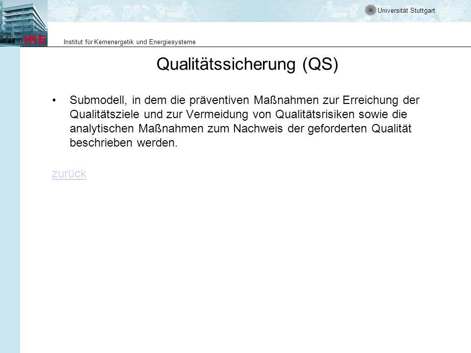 Universität Stuttgart Institut für Kernenergetik und Energiesysteme Qualitätssicherung (QS) Submodell, in dem die präventiven Maßnahmen zur Erreichung