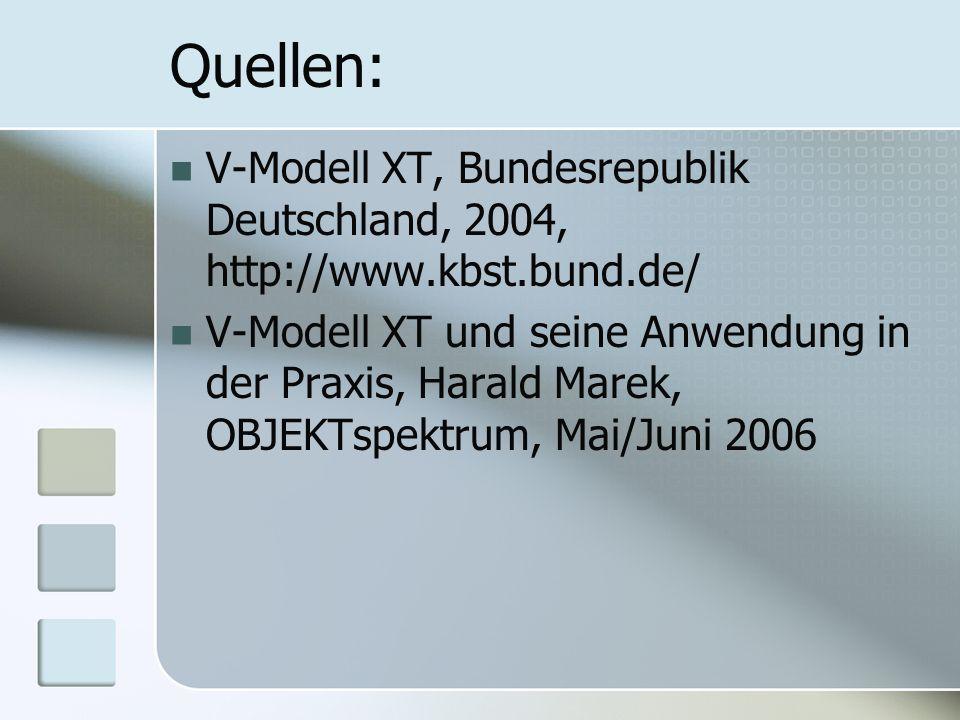 Quellen: V-Modell XT, Bundesrepublik Deutschland, 2004, http://www.kbst.bund.de/ V-Modell XT und seine Anwendung in der Praxis, Harald Marek, OBJEKTsp