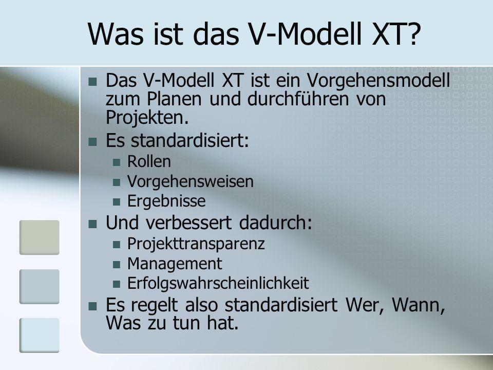 Was ist das V-Modell XT? Das V-Modell XT ist ein Vorgehensmodell zum Planen und durchführen von Projekten. Es standardisiert: Rollen Vorgehensweisen E