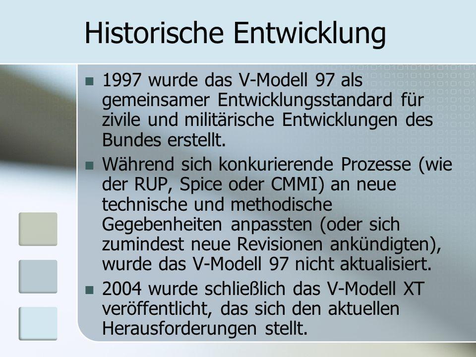 Historische Entwicklung 1997 wurde das V-Modell 97 als gemeinsamer Entwicklungsstandard für zivile und militärische Entwicklungen des Bundes erstellt.