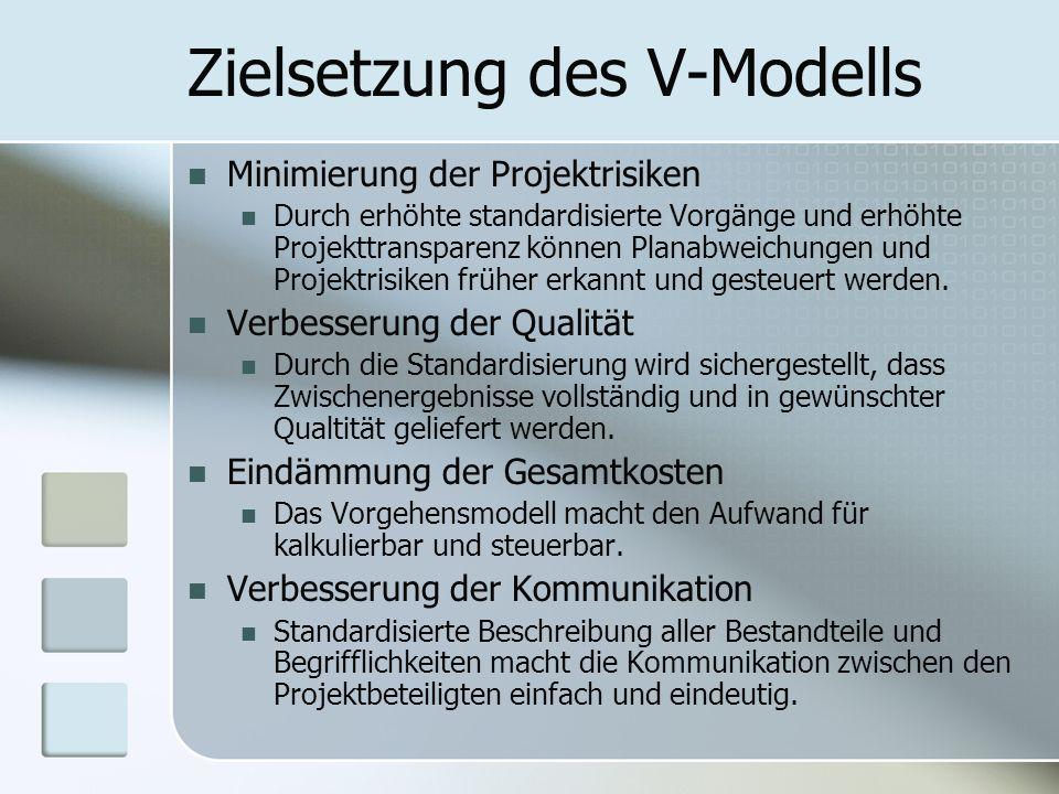 Zielsetzung des V-Modells Minimierung der Projektrisiken Durch erhöhte standardisierte Vorgänge und erhöhte Projekttransparenz können Planabweichungen