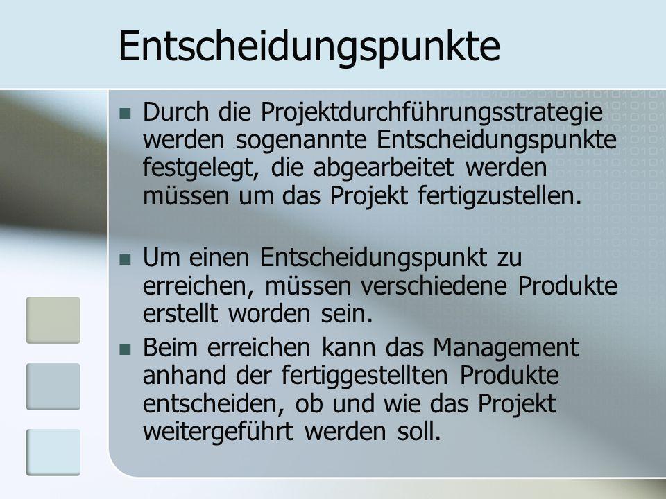Entscheidungspunkte Durch die Projektdurchführungsstrategie werden sogenannte Entscheidungspunkte festgelegt, die abgearbeitet werden müssen um das Pr