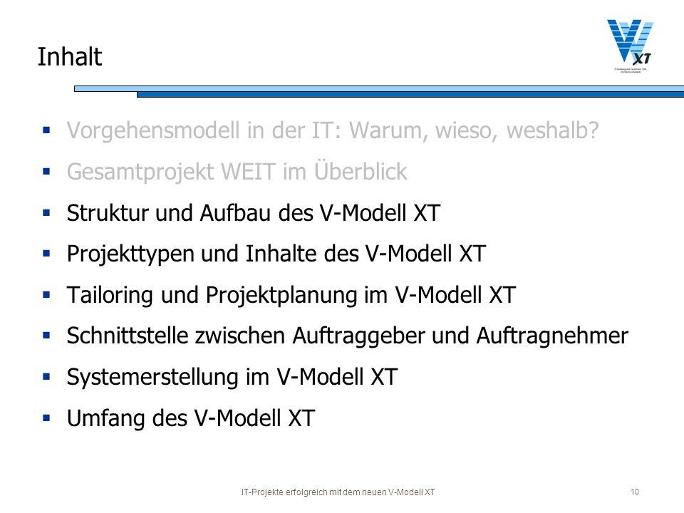 IT-Projekte erfolgreich mit dem neuen V-Modell XT 10 Inhalt Vorgehensmodell in der IT: Warum, wieso, weshalb? Gesamtprojekt WEIT im Überblick Struktur