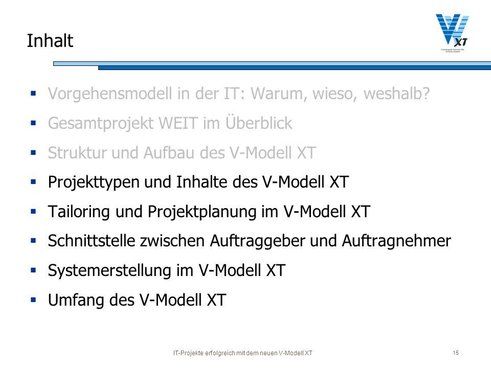 IT-Projekte erfolgreich mit dem neuen V-Modell XT 15 Inhalt Vorgehensmodell in der IT: Warum, wieso, weshalb? Gesamtprojekt WEIT im Überblick Struktur