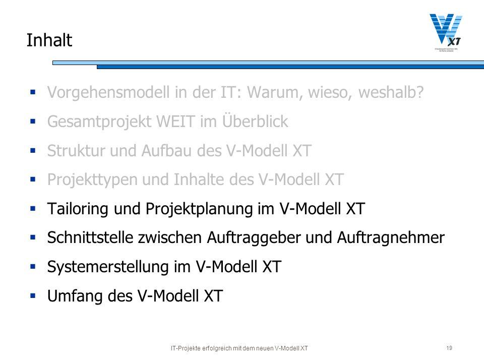 IT-Projekte erfolgreich mit dem neuen V-Modell XT 19 Inhalt Vorgehensmodell in der IT: Warum, wieso, weshalb? Gesamtprojekt WEIT im Überblick Struktur