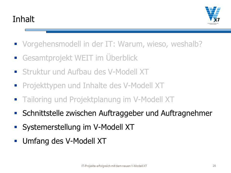 IT-Projekte erfolgreich mit dem neuen V-Modell XT 26 Inhalt Vorgehensmodell in der IT: Warum, wieso, weshalb? Gesamtprojekt WEIT im Überblick Struktur