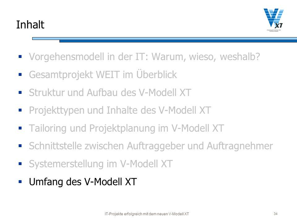 IT-Projekte erfolgreich mit dem neuen V-Modell XT 34 Inhalt Vorgehensmodell in der IT: Warum, wieso, weshalb? Gesamtprojekt WEIT im Überblick Struktur