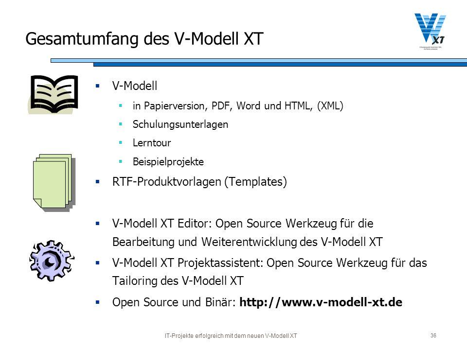 IT-Projekte erfolgreich mit dem neuen V-Modell XT 36 Gesamtumfang des V-Modell XT V-Modell in Papierversion, PDF, Word und HTML, (XML) Schulungsunterl