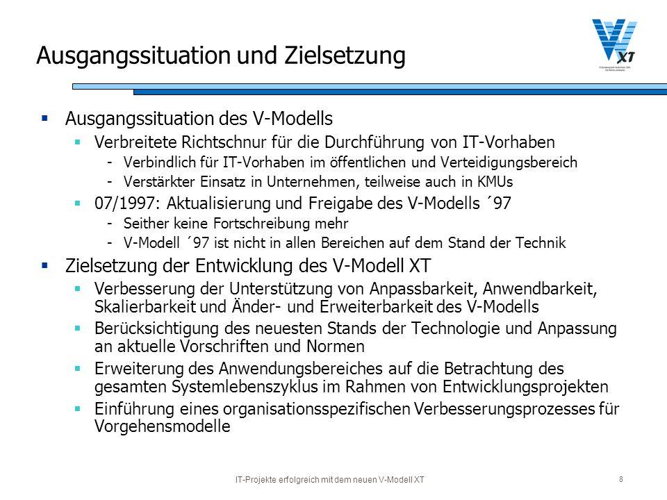 IT-Projekte erfolgreich mit dem neuen V-Modell XT 8 Ausgangssituation und Zielsetzung Ausgangssituation des V-Modells Verbreitete Richtschnur für die