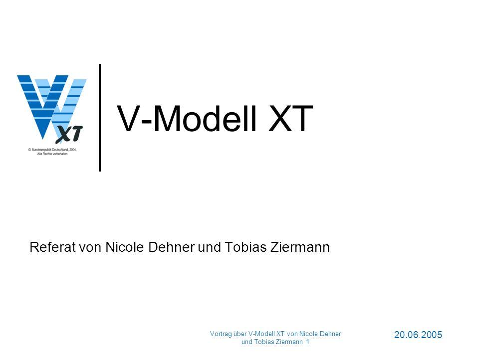 20.06.2005 Vortrag über V-Modell XT von Nicole Dehner und Tobias Ziermann 1 V-Modell XT Referat von Nicole Dehner und Tobias Ziermann