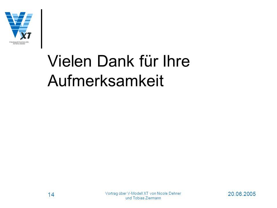 14 20.06.2005 Vortrag über V-Modell XT von Nicole Dehner und Tobias Ziermann Vielen Dank für Ihre Aufmerksamkeit