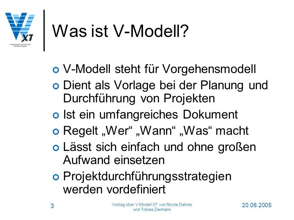 3 20.06.2005 Vortrag über V-Modell XT von Nicole Dehner und Tobias Ziermann Was ist V-Modell.