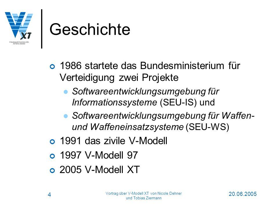 4 20.06.2005 Vortrag über V-Modell XT von Nicole Dehner und Tobias Ziermann Geschichte 1986 startete das Bundesministerium für Verteidigung zwei Projekte Softwareentwicklungsumgebung für Informationssysteme (SEU-IS) und Softwareentwicklungsumgebung für Waffen- und Waffeneinsatzsysteme (SEU-WS) 1991 das zivile V-Modell 1997 V-Modell 97 2005 V-Modell XT