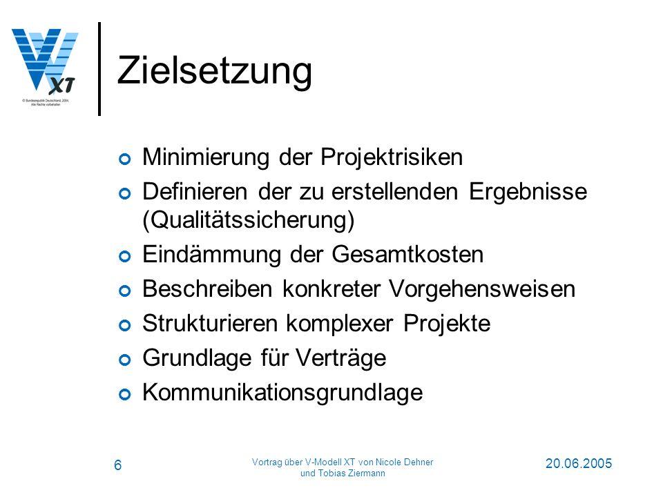 6 20.06.2005 Vortrag über V-Modell XT von Nicole Dehner und Tobias Ziermann Zielsetzung Minimierung der Projektrisiken Definieren der zu erstellenden Ergebnisse (Qualitätssicherung) Eindämmung der Gesamtkosten Beschreiben konkreter Vorgehensweisen Strukturieren komplexer Projekte Grundlage für Verträge Kommunikationsgrundlage