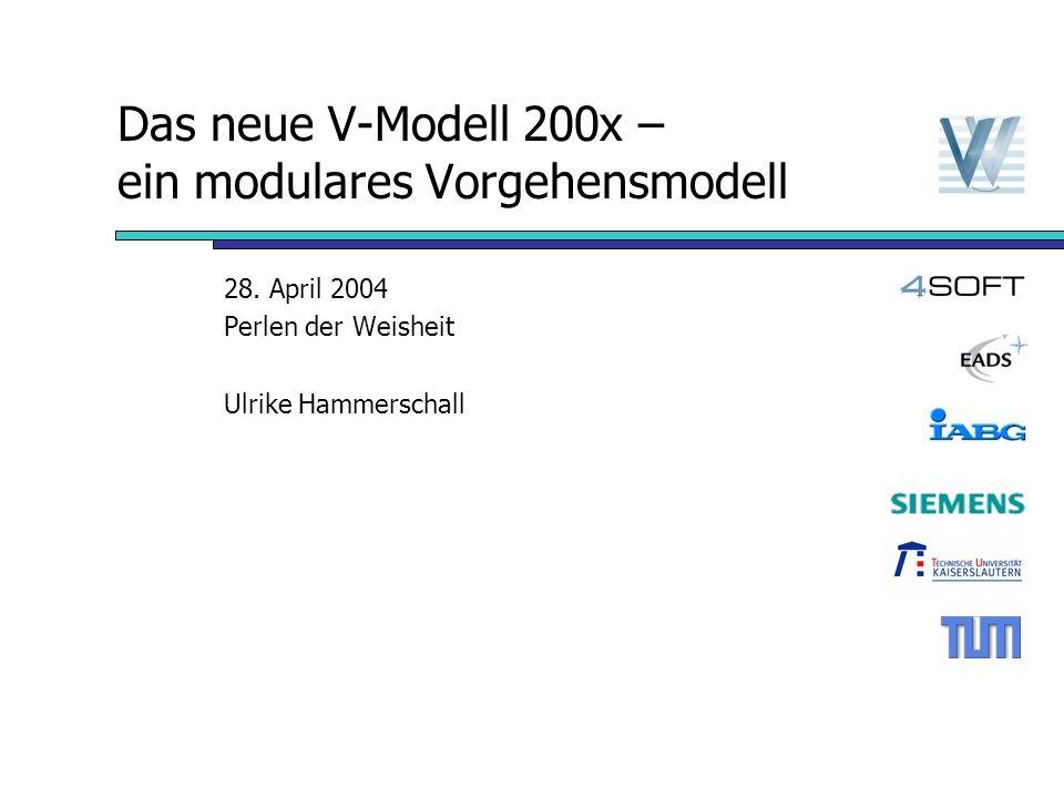 14.04.2004 Das V-Modell 200x – ein modulares Vorgehensmodell 11 Gesamtüberblick V-Modell V-Modell-Kern Vorgehensbausteinlandkarte Projektdurchführungsstrategien und Entscheidungspunkte Konventionssichten Anwenderreferenzen
