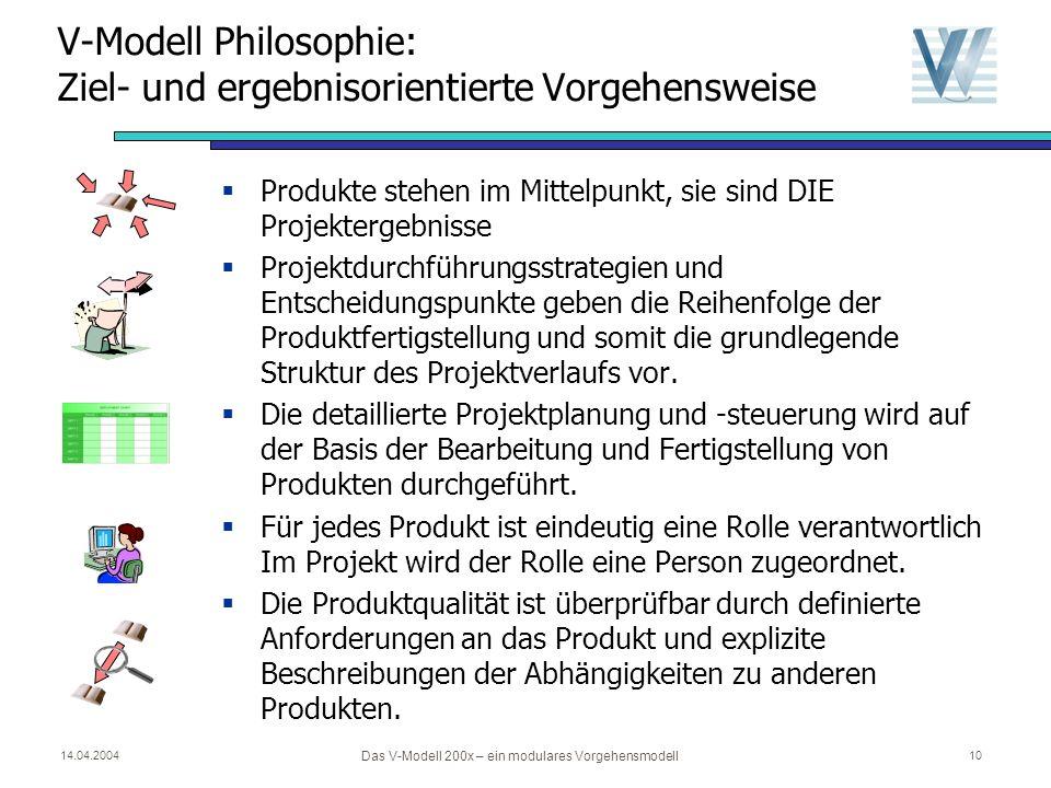 14.04.2004 Das V-Modell 200x – ein modulares Vorgehensmodell 9 Projektdurchführungsstrategien und Entscheidungspunkte Vorgehensbausteine, Produkte und