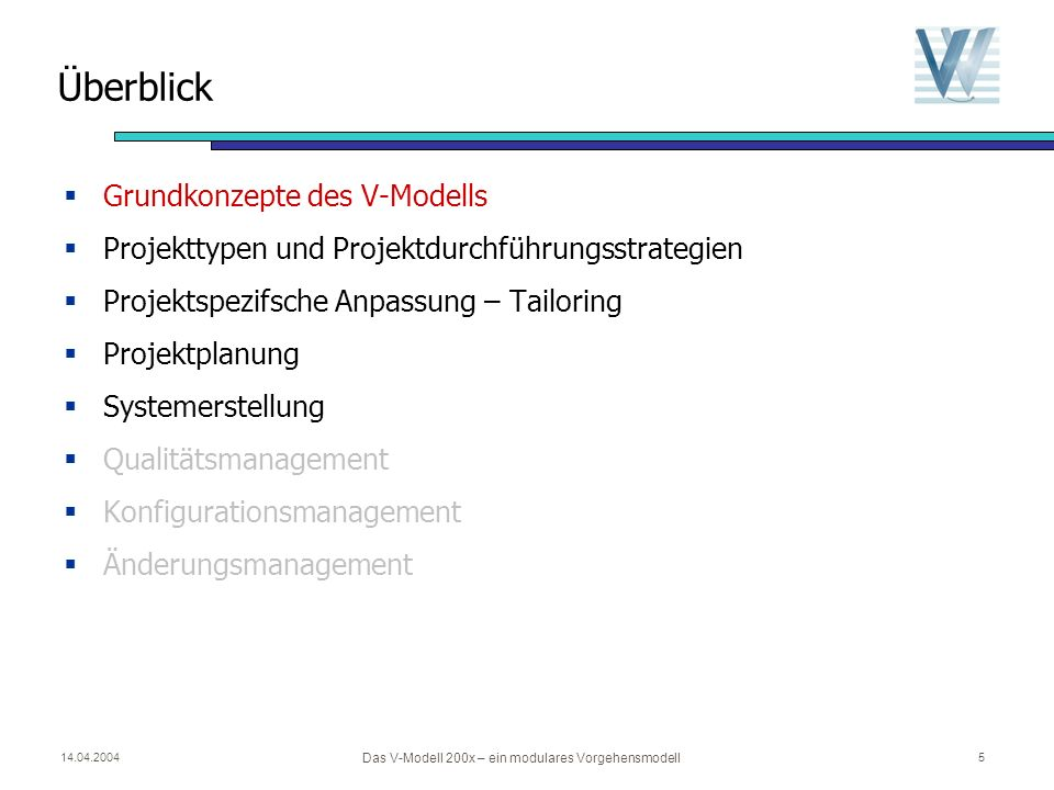 14.04.2004 Das V-Modell 200x – ein modulares Vorgehensmodell 5 Überblick Grundkonzepte des V-Modells Projekttypen und Projektdurchführungsstrategien Projektspezifsche Anpassung – Tailoring Projektplanung Systemerstellung Qualitätsmanagement Konfigurationsmanagement Änderungsmanagement