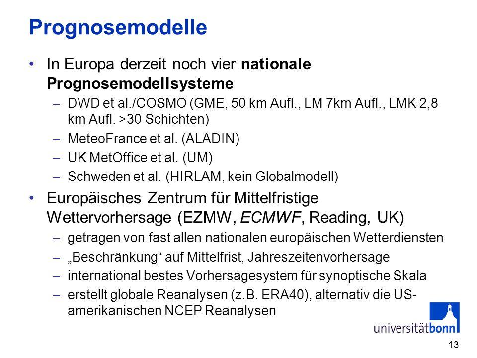 13 Prognosemodelle In Europa derzeit noch vier nationale Prognosemodellsysteme –DWD et al./COSMO (GME, 50 km Aufl., LM 7km Aufl., LMK 2,8 km Aufl.