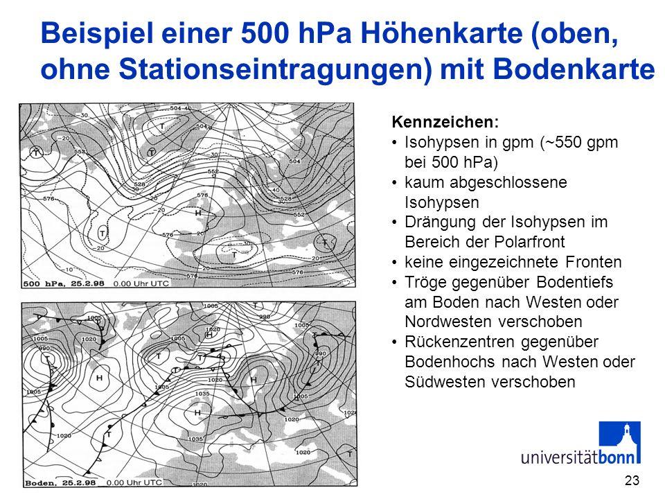 23 Beispiel einer 500 hPa Höhenkarte (oben, ohne Stationseintragungen) mit Bodenkarte Kennzeichen: Isohypsen in gpm (~550 gpm bei 500 hPa) kaum abgeschlossene Isohypsen Drängung der Isohypsen im Bereich der Polarfront keine eingezeichnete Fronten Tröge gegenüber Bodentiefs am Boden nach Westen oder Nordwesten verschoben Rückenzentren gegenüber Bodenhochs nach Westen oder Südwesten verschoben