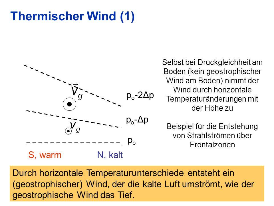 27 Thermischer Wind (1) popo S, warm N, kalt po-Δppo-Δp p o -2Δp Selbst bei Druckgleichheit am Boden (kein geostrophischer Wind am Boden) nimmt der Wind durch horizontale Temperaturänderungen mit der Höhe zu Beispiel für die Entstehung von Strahlströmen über Frontalzonen Durch horizontale Temperaturunterschiede entsteht ein (geostrophischer) Wind, der die kalte Luft umströmt, wie der geostrophische Wind das Tief.