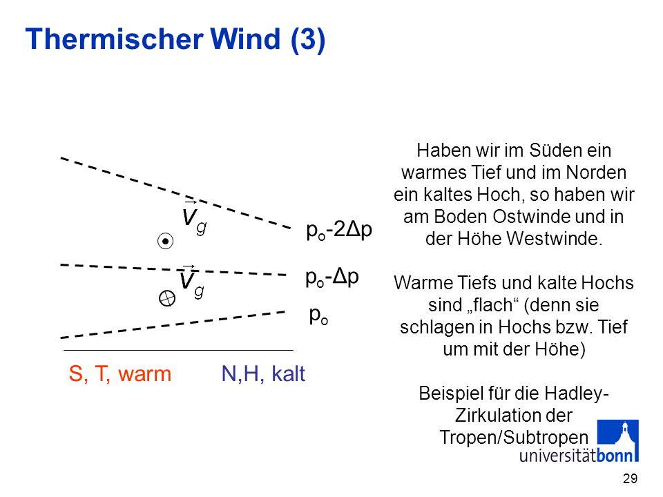 29 Thermischer Wind (3) popo S, T, warm N,H, kalt po-Δppo-Δp p o -2Δp Haben wir im Süden ein warmes Tief und im Norden ein kaltes Hoch, so haben wir am Boden Ostwinde und in der Höhe Westwinde.