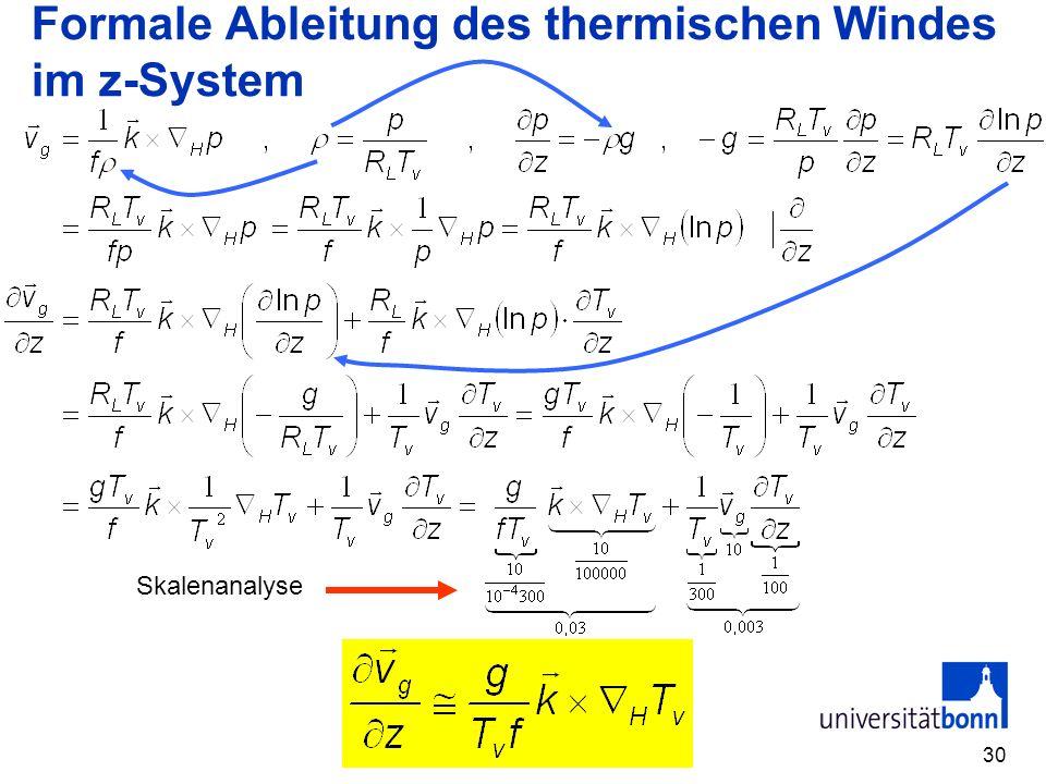 30 Formale Ableitung des thermischen Windes im z-System Skalenanalyse