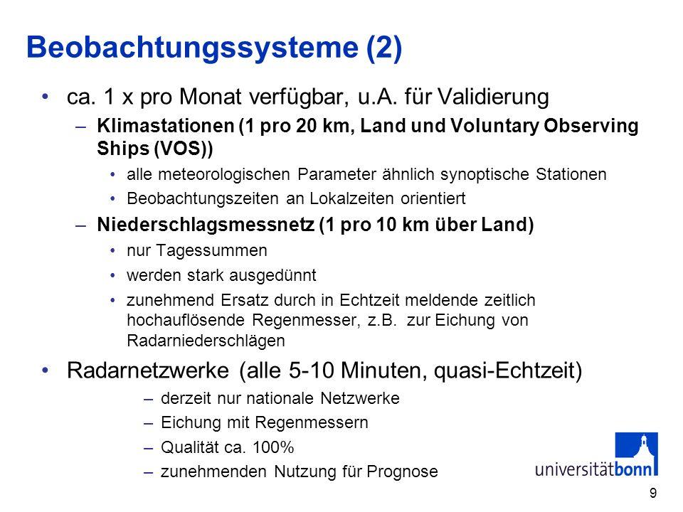 9 Beobachtungssysteme (2) ca.1 x pro Monat verfügbar, u.A.