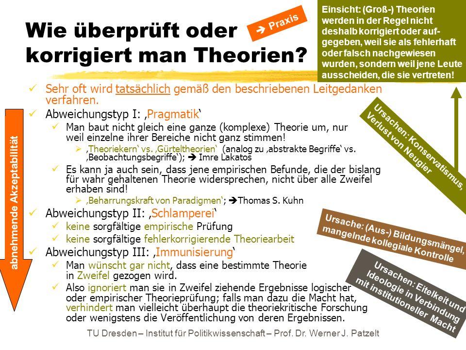 TU Dresden – Institut für Politikwissenschaft – Prof. Dr. Werner J. Patzelt Wie überprüft oder korrigiert man Theorien? Sehr oft wird tatsächlich gemä