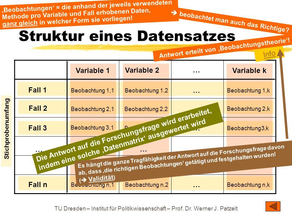 TU Dresden – Institut für Politikwissenschaft – Prof. Dr. Werner J. Patzelt Struktur eines Datensatzes Fall 1 Fall 3 Fall 2 Fall n … … Variable 1 Vari