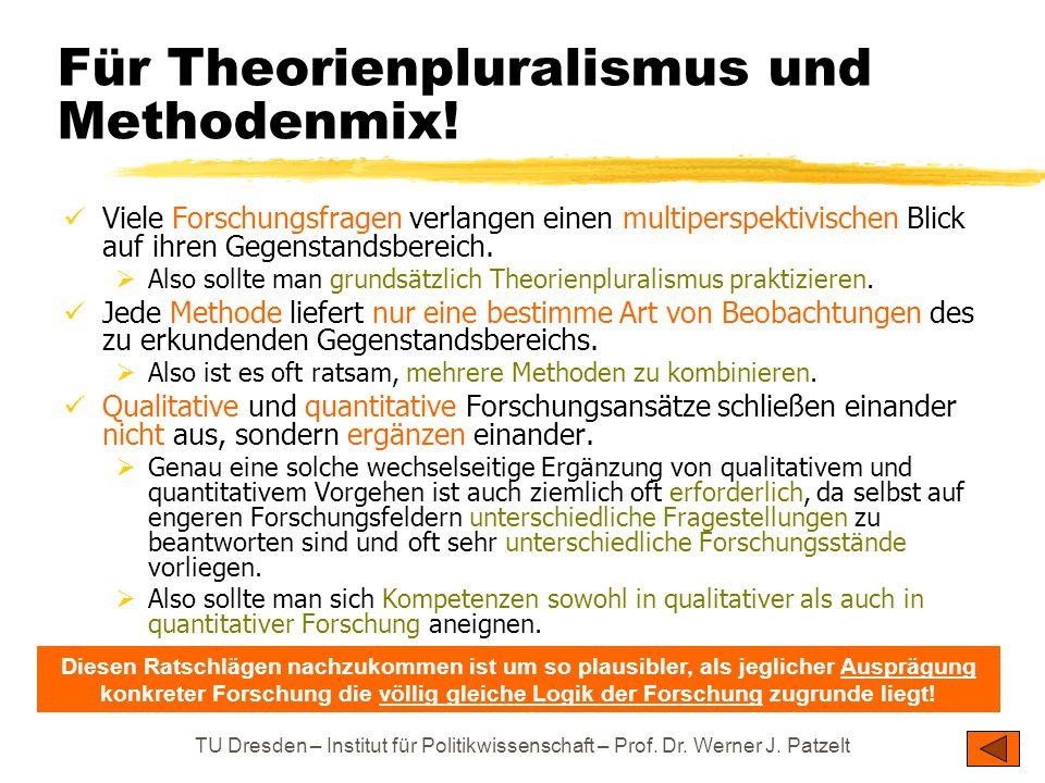 TU Dresden – Institut für Politikwissenschaft – Prof. Dr. Werner J. Patzelt Für Theorienpluralismus und Methodenmix! Viele Forschungsfragen verlangen