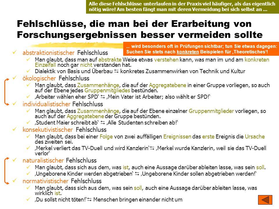 TU Dresden – Institut für Politikwissenschaft – Prof. Dr. Werner J. Patzelt Fehlschlüsse, die man bei der Erarbeitung von Forschungsergebnissen besser